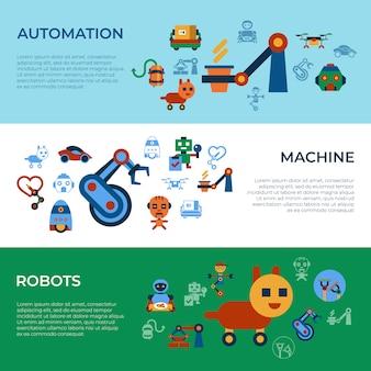 機械自動化および人工知能ロボットアイコンコレクション