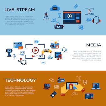 ビデオオンデマンドオンラインストリーミング技術のアイコンコレクション