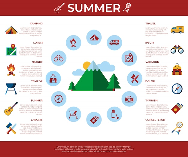 夏のキャンプスポーツ活動のアイコンのコレクション