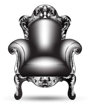 バロック様式の黒い肘掛け椅子の複雑な構造