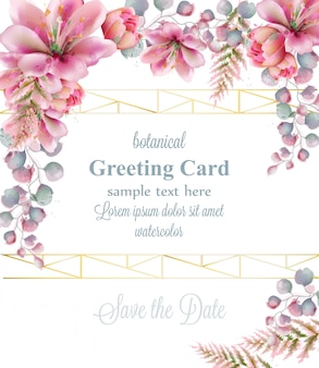 ユリ美しい花の水彩の挨拶のフレーム