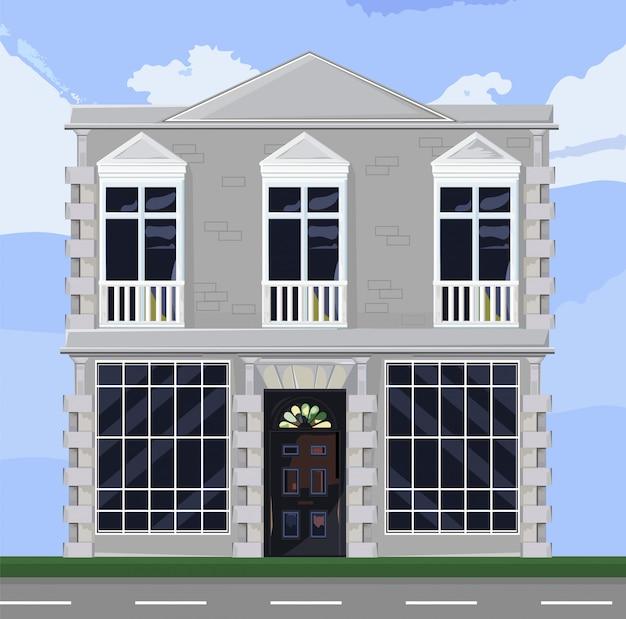 白い建物のファサードアーキテクチャ