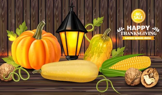 木製の背景に秋の収穫