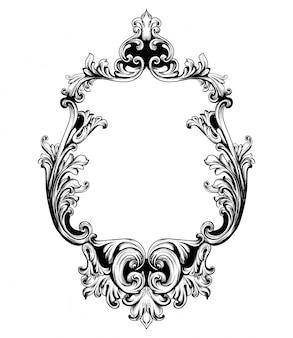 バロック豊かなデザインのビンテージミラーフレーム