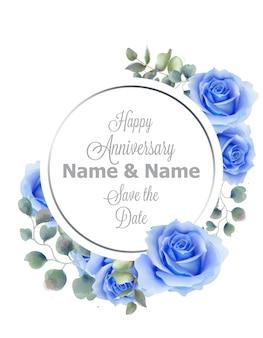 青いバラの花の水彩の丸いフレームのカード