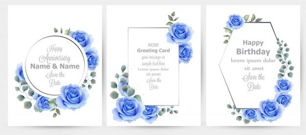 水彩、青、バラ、花、カード、コレクション