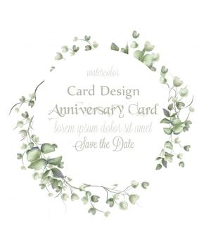 グリーティングカードの花輪のフレームに水彩の葉
