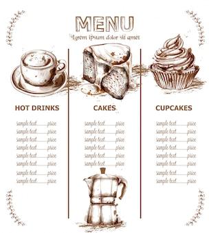 メニューテンプレートドリンクとケーキ
