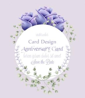 花の挨拶カードの背景の水彩ローズ
