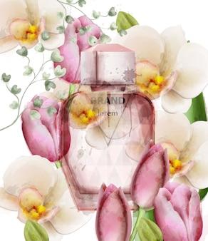 女性の香水ボトル花