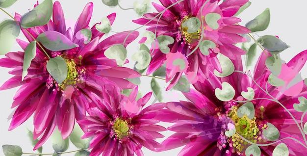 Дейзи цветы баннер акварель