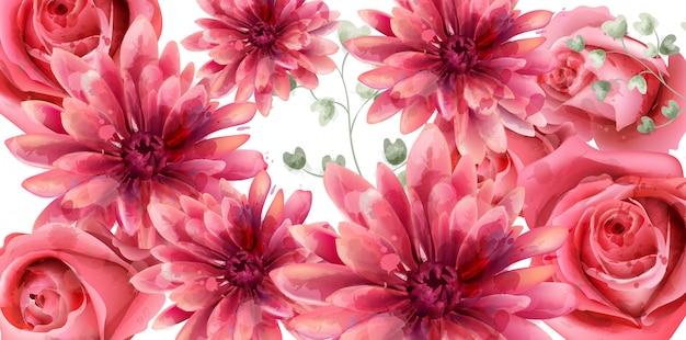 Весенние розы и цветы маргаритки акварель