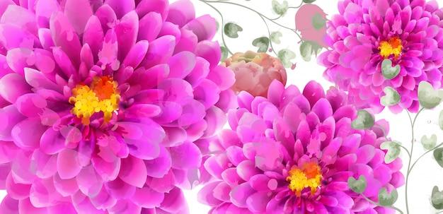 Весенние цветы баннер акварель