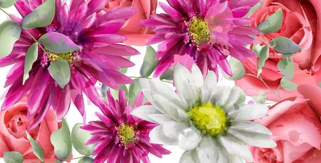春のデイジーの花の背景の水彩