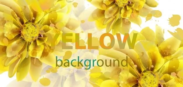 黄色の花の秋のバナーの水彩