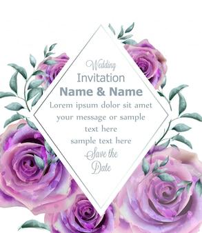 結婚式招待バラ花の水彩フレーム