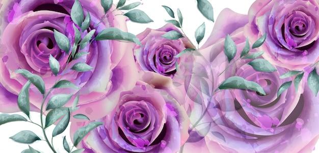 紫のバラの水彩バナー