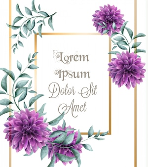 ダリアの紫色の花のフレームカードの水彩