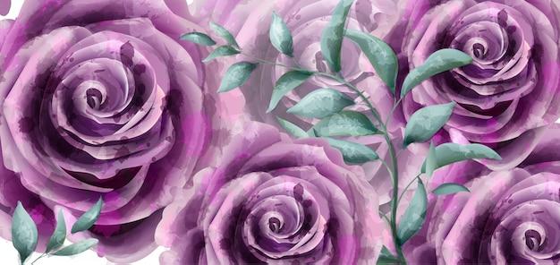 バラの花の水彩バナー