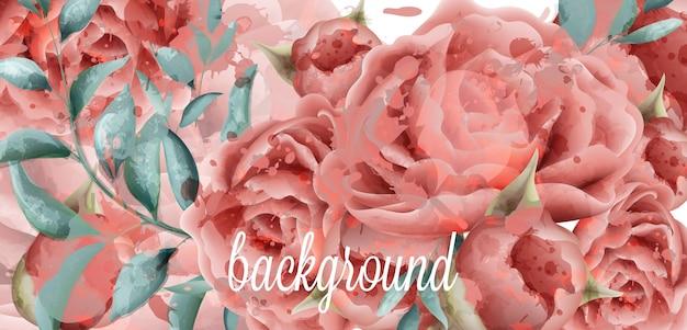 花の水彩の背景をバラ