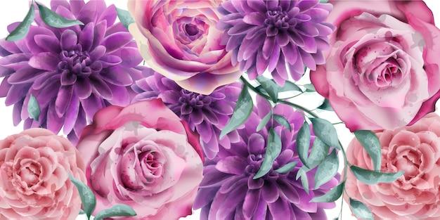 春の花バナー水彩