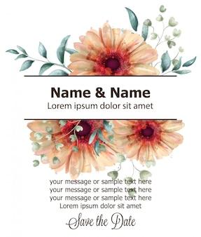 ガーベラの花のバナー水彩