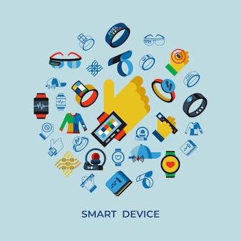 ウェアラブルテクノロジーのアイコンが設定されています