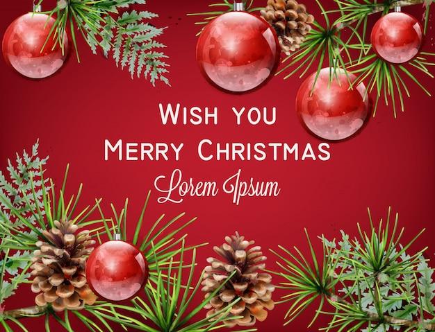 メリークリスマスレッド水彩カード