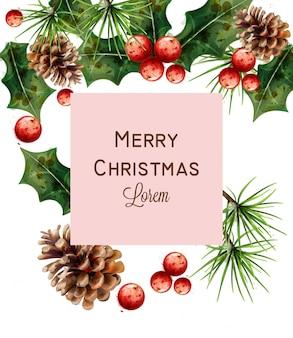 メリークリスマスの水彩カード
