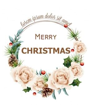 水彩のバラとメリークリスマスの花輪