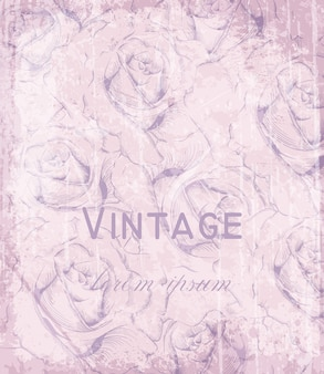 ヴィンテージビンテージのカード、刻まれたバラ