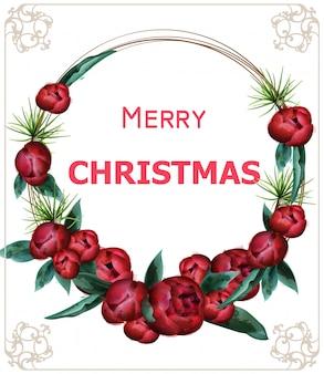 メリークリスマス咲く牡丹の花輪花輪水彩