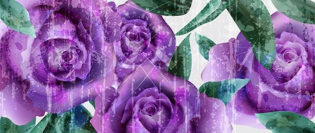 紫のバラの水彩の背景