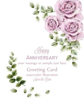繊細なピンクのバラの記念日カード