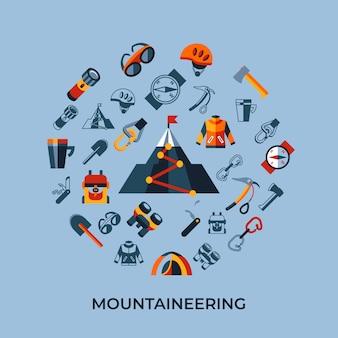 Набор иконок альпинистских технологий