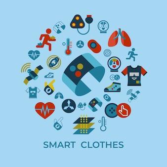 Набор иконок технологии гаджет моды умная одежда