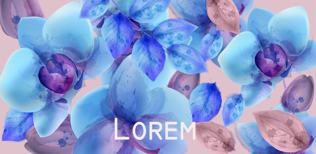青い蘭の水彩画の背景