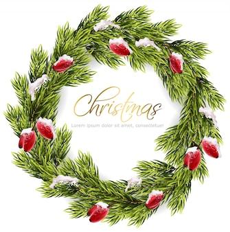 クリスマスのモミの花輪フレーム