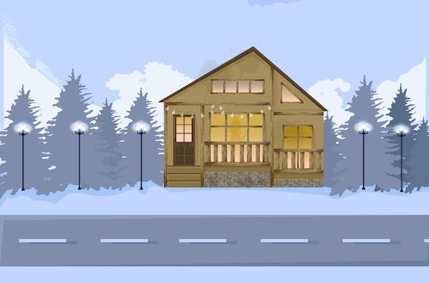 Деревянный дом на дороге зимой