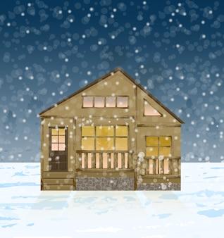 冬の木の家の正面