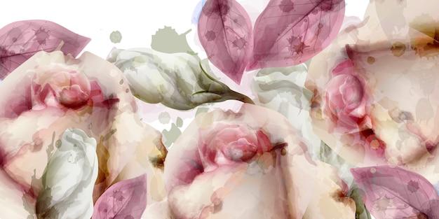 春の花のブーケ水彩背景
