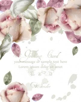 水彩画の花の背景とグリーティングカード