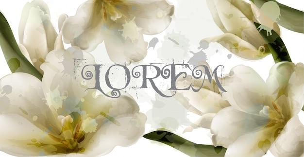 Лили акварельные цветы фон