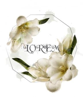 ユリの水彩画の花の抽象的な花輪フレーム