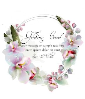 蘭の花の花輪の水彩画