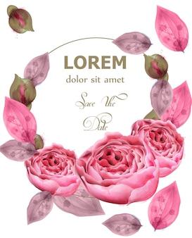 繊細なピンクのバラの花輪