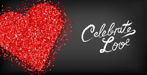 赤いキラキラハートバレンタインの日カード