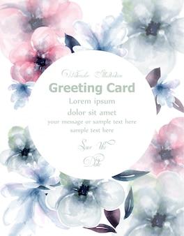 春の花の水彩画ラウンドカード