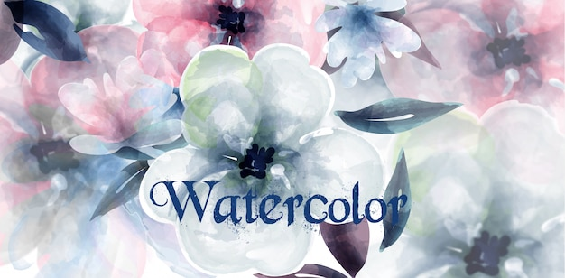 春の花の水彩画の背景