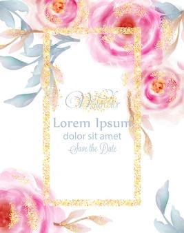 金色のキラキラと水彩のピンクのバラ